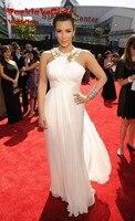 Chiffon Beaded Neckline Long Kim Kardashian Red Celebrity Dresses Kylie Jenner Selena Gomez Evening Dress Carpet
