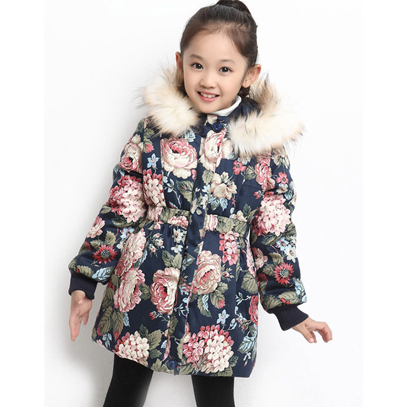 Girls Winter Jackets Coats Fur Hooded Thick Warm Long Parka Down Winter Kids Clothes Cotton Children's Parkas Winter Jacket 2017 new famale down cotton coats women winter warm large fur hooded parkas girls medium long thick slim winter jackets cm1704