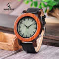 BOBO BIRD Two Tone Wooden Watches for Men Oversize Style Leather Quartz Watch in Wooden Gift Box