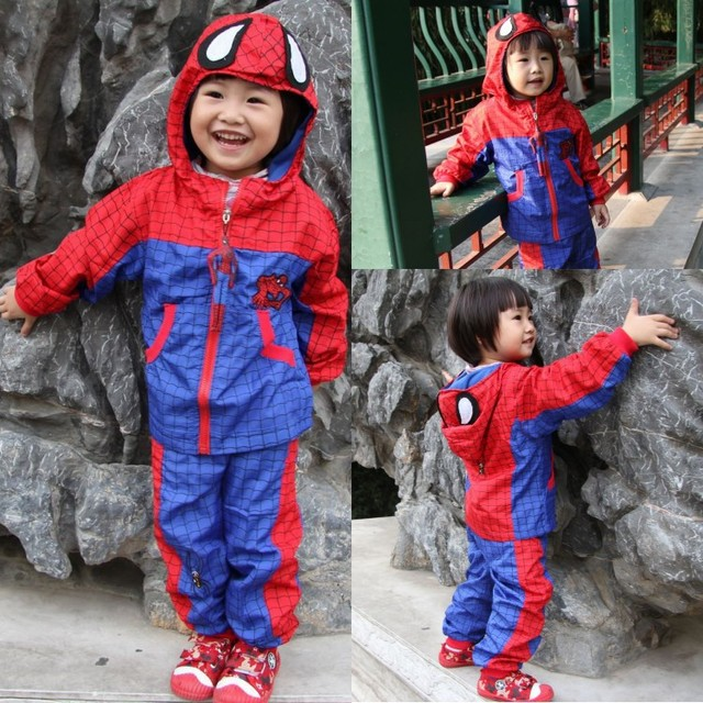 New Thicken Red Spider-Man Children's Suits 2016 Autumn Winter Spiderman Sportswear Suit Jacket Pants Kids Cartoon Clothing Set