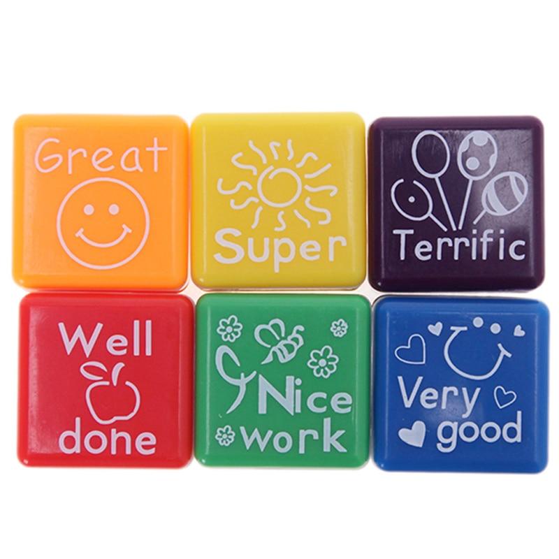 6pc Teachers Stampers Self Inking Praise Reward Stamps Motivation Sticker School