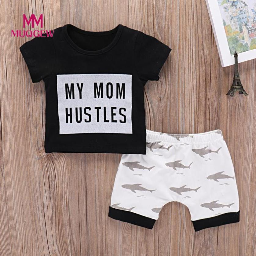 MUQGEW summer Toddler Baby Girls Boys Letter Tops Letter O-Neck T Shirt Cartoon Sharks Shorts newest style hot sale Black Outfit