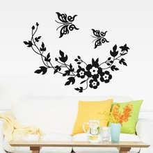 Decorative Butterfly Flower vine bathroom vinyl wall stickers home decoration wall decals for toilet sticker flower rattan butterfly design toilet waterproof wall sticker