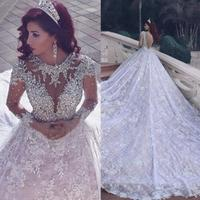 New Model Fashion Backless Luxury Empire Lace Wedding Dress Bridal Gown With Crystal ZH0605 Custom Size