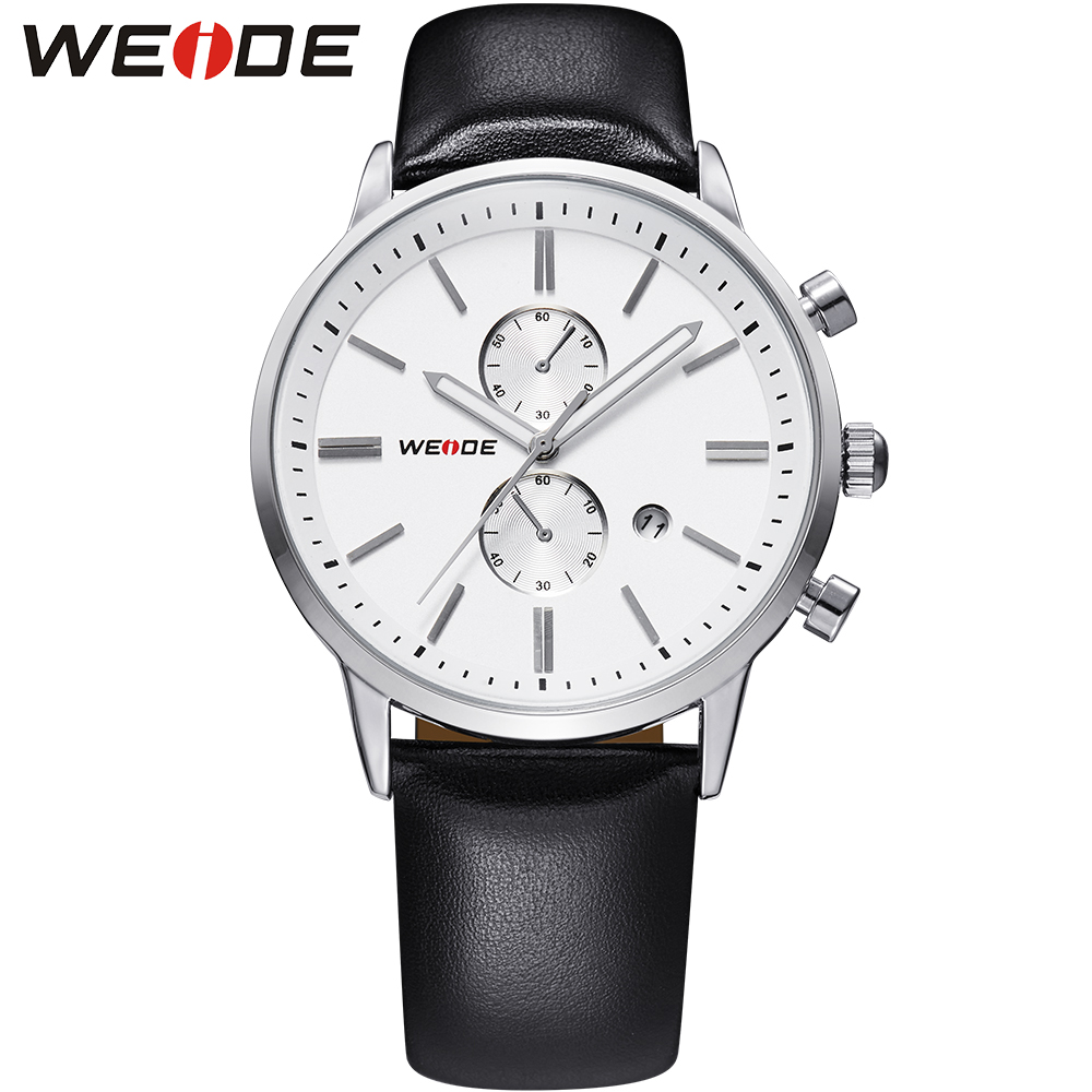 ФОТО WEIDE Man Leather Strap Quartz Watches Men Luxury Brand Waterproof Analog Date Clock Mens Fashion Business Watch With Gift Box