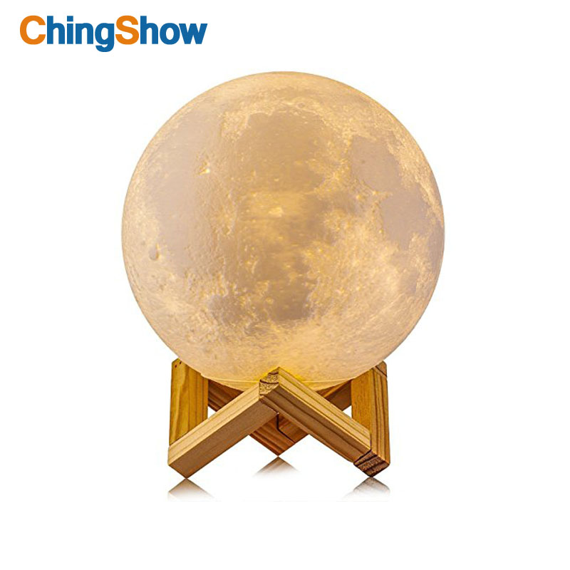 CHINGSHOW 3D Print Moon Lamp Rechargeable Moonlight 2 Color Change Touch Switch for kids baby usb LED Night Light Home Decor