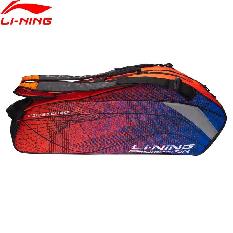 Li-Ning Badminton Rackets Bag 6 Rackets Load Essentials Polyester LiNing Professional Racquet Sport Bags ABJN012 BBF254
