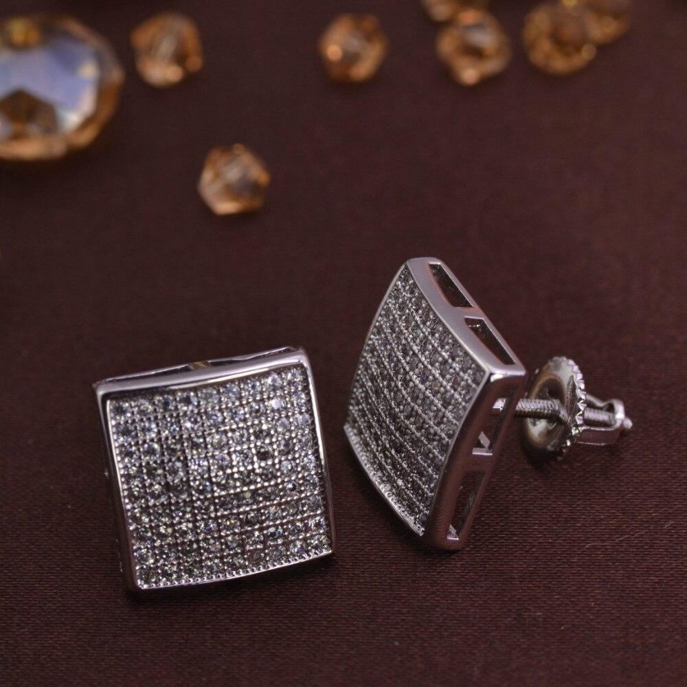 Aliexpress Micro Pave Square Men S Stud Earrings
