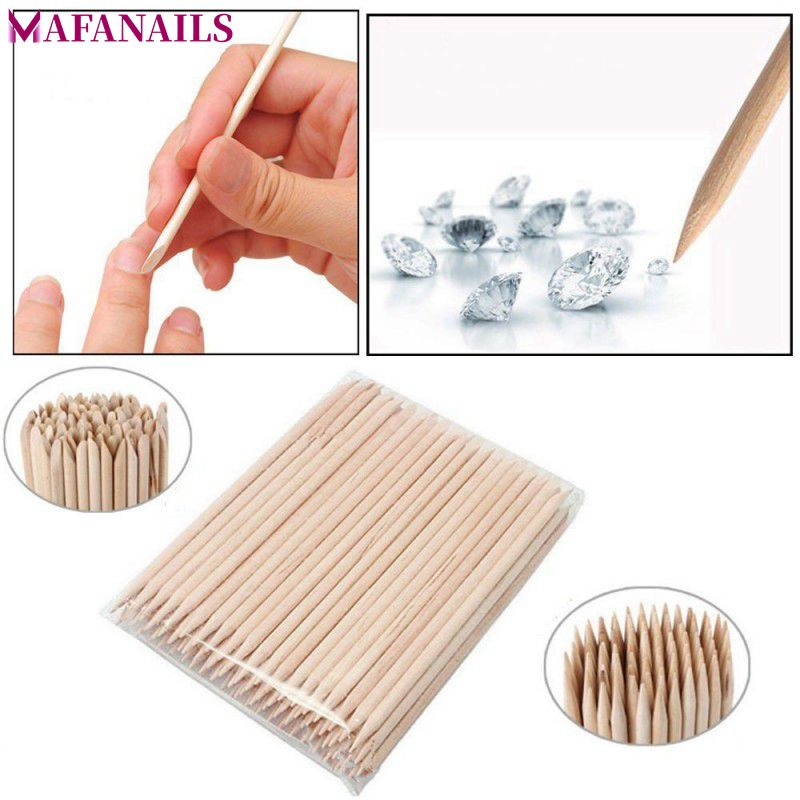 1 Pack 100pcs Orange Wood 2-Way Use Nail Art Cuticle Pusher Remover Pedicure Manicure Sticks Tool TRP09 (11.5cm Long)