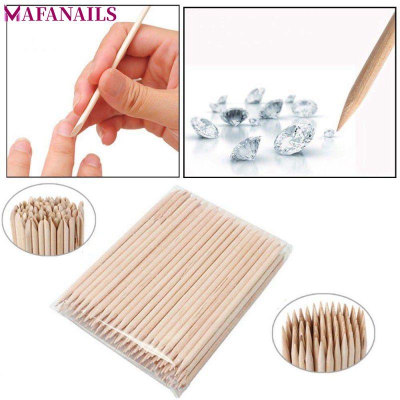 1 Pack 100pcs Orange Wood 2-Way Use Nail Art Cuticle Pusher Remover Pedicure Manicure Sticks Tool TRP09 (11.5cm long)