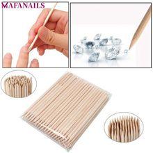 1 Pack 100pcs Orange Wood 2-Way Use Nail Art Cuticle Pusher Remover Pedicure Manicure Sticks Tool TRP09 (11.5cm long) цены онлайн