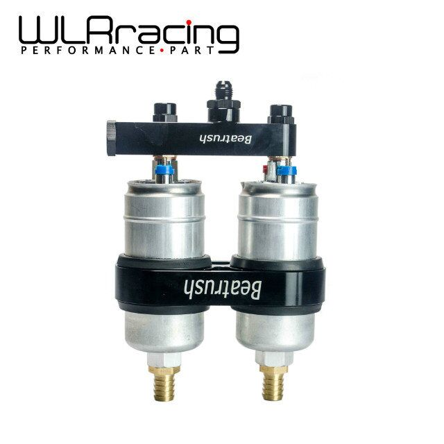 WLRING STORE- Twin 044 Fuel Pump Billet Aluminium Assembly OUTLET Manifold In Black with fuel pump WLR-YBPJ11