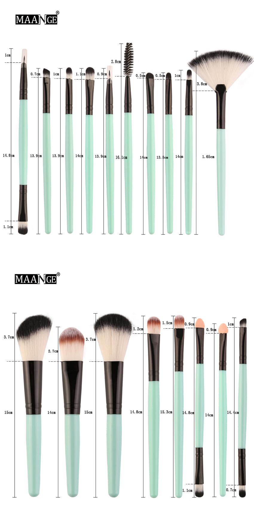 18Pcs/lot Brand Brushes Makeup Brush Set maquiagem Cosmetics Power Foundation Blush Eye Shadow Blending Fan Make Up Kits Beauty 14