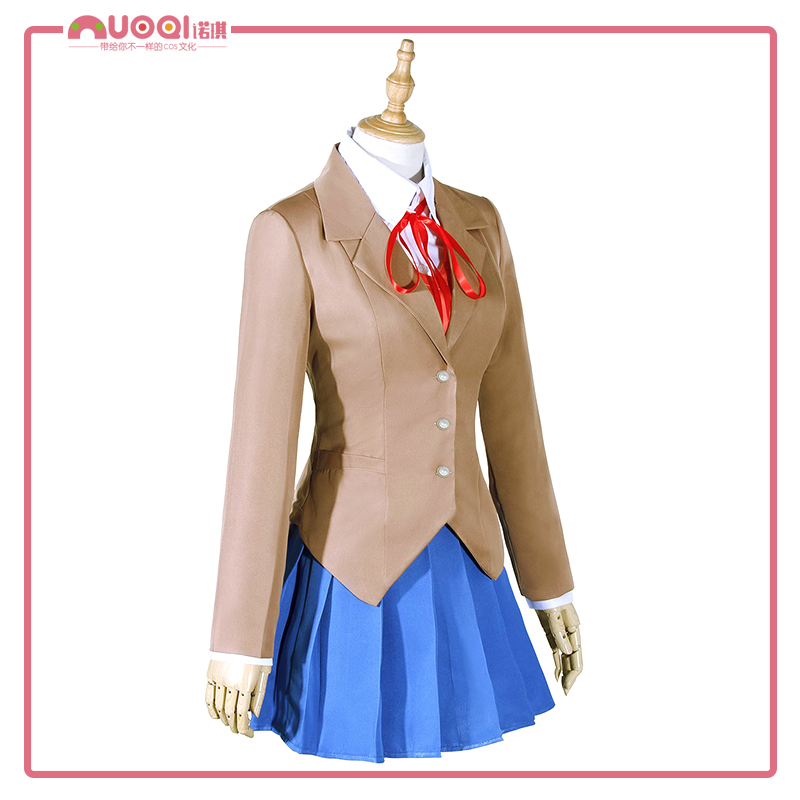 Anime Game Costume Full Set Doki Doki Literature Club Sayori Yuri Natsuki Monika Adult Cosplay Costume with Shoes Wig