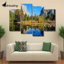 Modern 4 panels Painting beautiful scenery lake mounntain trees painting canvas set posters and prints F1731(China)