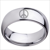 Peace Sign Pattern Design Dome Tungsten Carbide 8mm Men S Ring Silver Men Women Jewelry Men