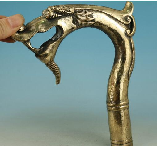 WBY817 grand chinois vieux laiton sculpté à la main Dragon recueillir Statue bâton de marche tête
