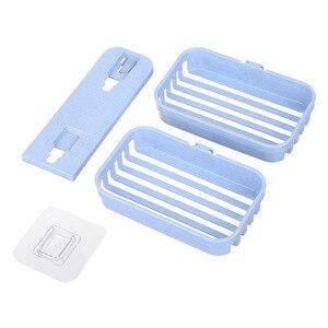 Image 5 - 1pcs צלחת סבון מגש שכבה כפולה בעל סבון ניקוז יניקה גביע סבון תיבת בית סבון כלים דרגש מים אמבטיה סלי