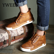 YWEEN New Men Boots Fashion Men Warm Fur Snow Boots Men Top Quality Men's Leather Shoes Big Size Shoes