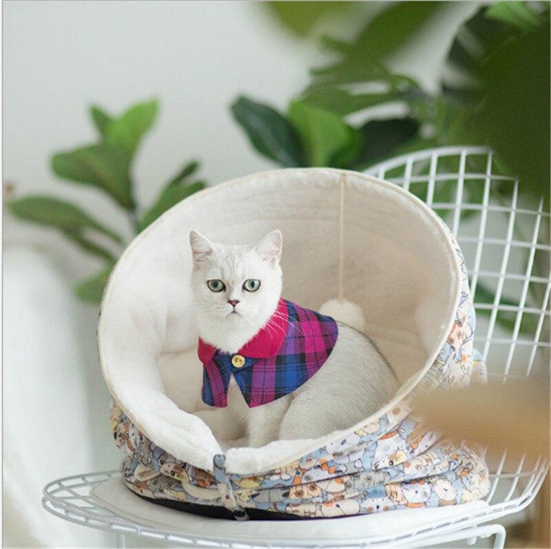 Tonneau forme chat lit maison tapis Deformable polymorphe chat maison lapin poil