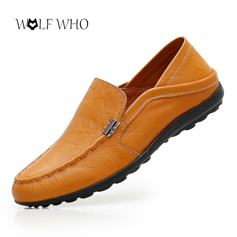 WolfWho New Casual Men Shoes Plus Size 38-47 Split Leather Driving Moccasins Gommino Formal Shoes Male Dress Espadrilles Loafers цены онлайн