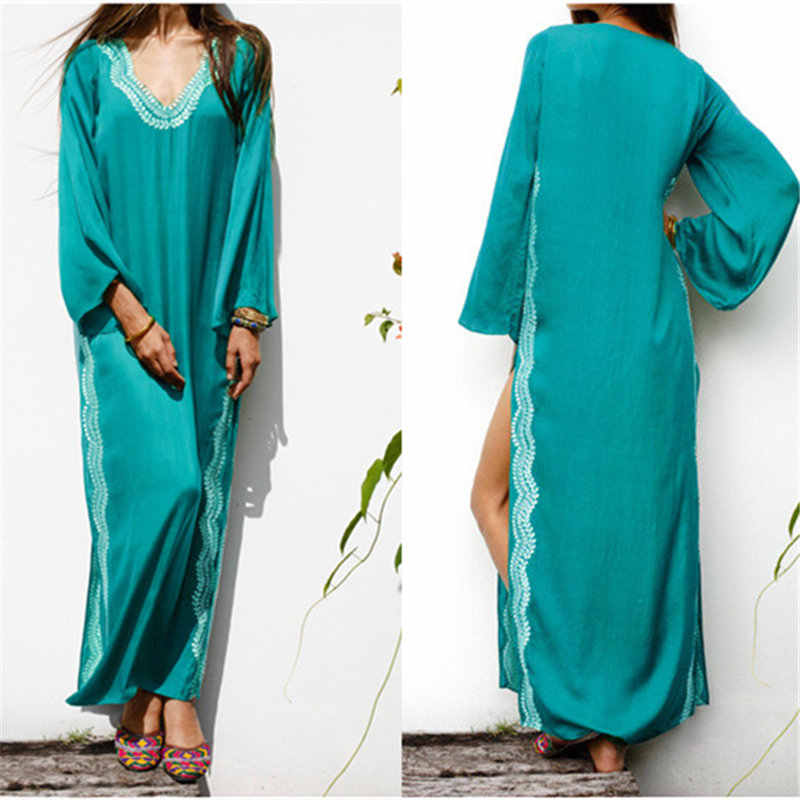 a7e04951af Blue Embroidery Sexy Side Split Maxi Dress Long Sleeve 2019 Summer Women  Beach Wear Pool Party