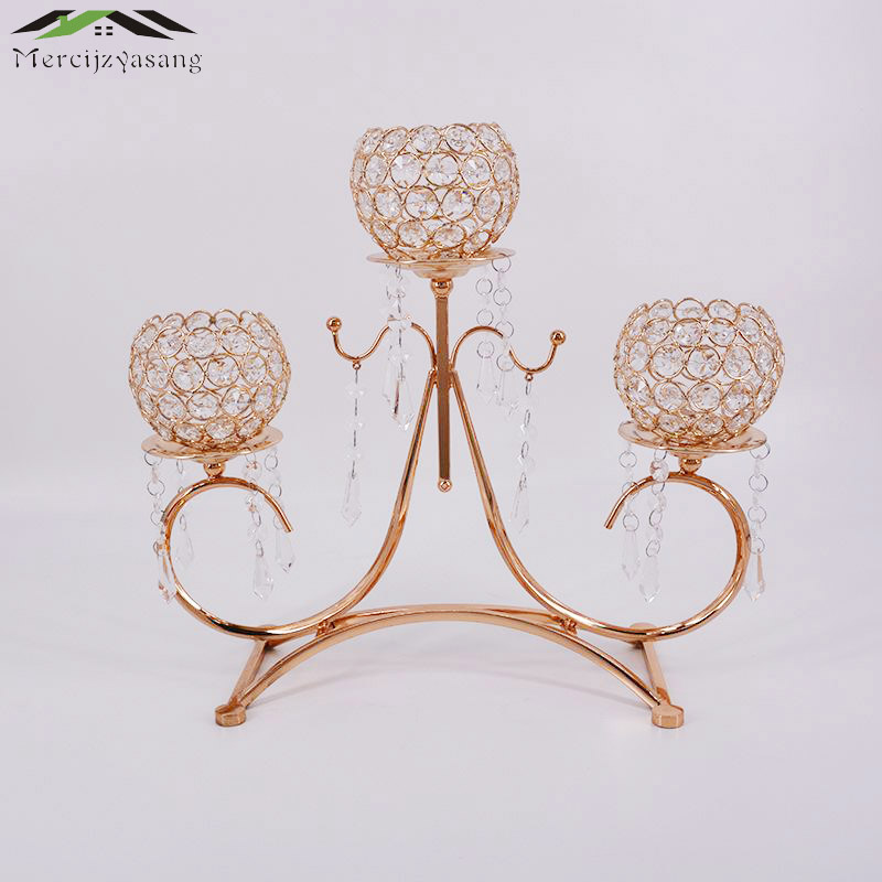 Metal Gold Candle Holders 3-Arms With Crystals 54CMx40CM Stand Candlesticks For Wedding Candle Holder Candelabra 10PCS/LOT 02404