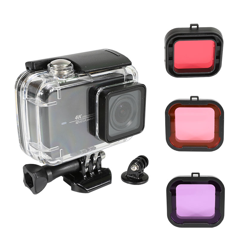 Waterproof Case for YI 4K Action Camera Xiaoyi 4K Protection Shell Lite 4K Diving Housing Box Mount W Filter Kits Accessories in Sports Camcorder Cases from Consumer Electronics