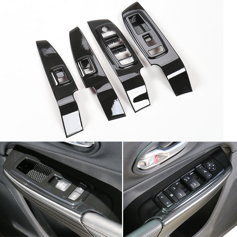 Bestmotoring for Jeep Cherokee Window Lift Buttons Cover Frame Trim Cover for Jeep Cherokee 2014 2015 2016 ABS Red 4pcs