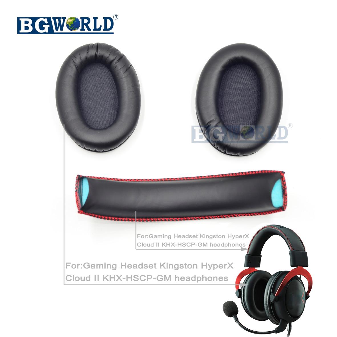 BGWORLD Replacement Earpads Ear Foam Headband Head Bands Pad Cushion For Kingston HyperX Cloud II KHX-HSCP-GM Headphones Sponge