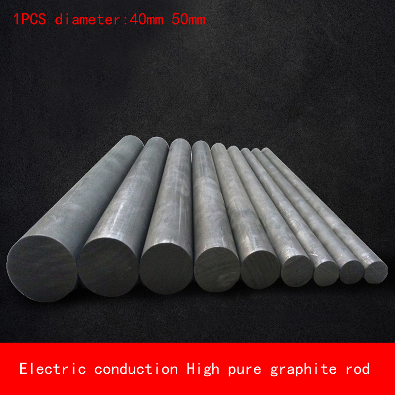 1pcs diameter 40mm 50mm length 100-500mm heat resistant Electric conduction high Pure Graphite rod Electrode Carbon rod 5pcs 100mm length graphite rod 10mm diameter electrode cylinder rods bars black for industry tools