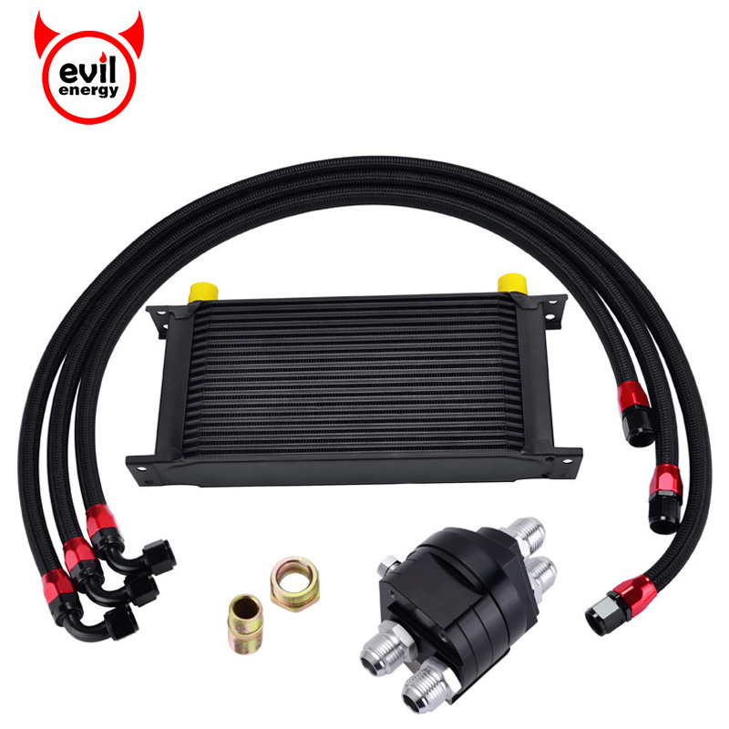 evil energy 19ROW 10AN Transmission Oil Cooler+Oil Adapter Filter Cooler Plate+1M/1.2M/1.4M Stainless Steel Braided Hose Line