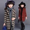 Полный Плед куртка детская одежда девочка куртка шерстяное пальто средней длины 2016 траншеи девушки весной ребенок верхняя одежда