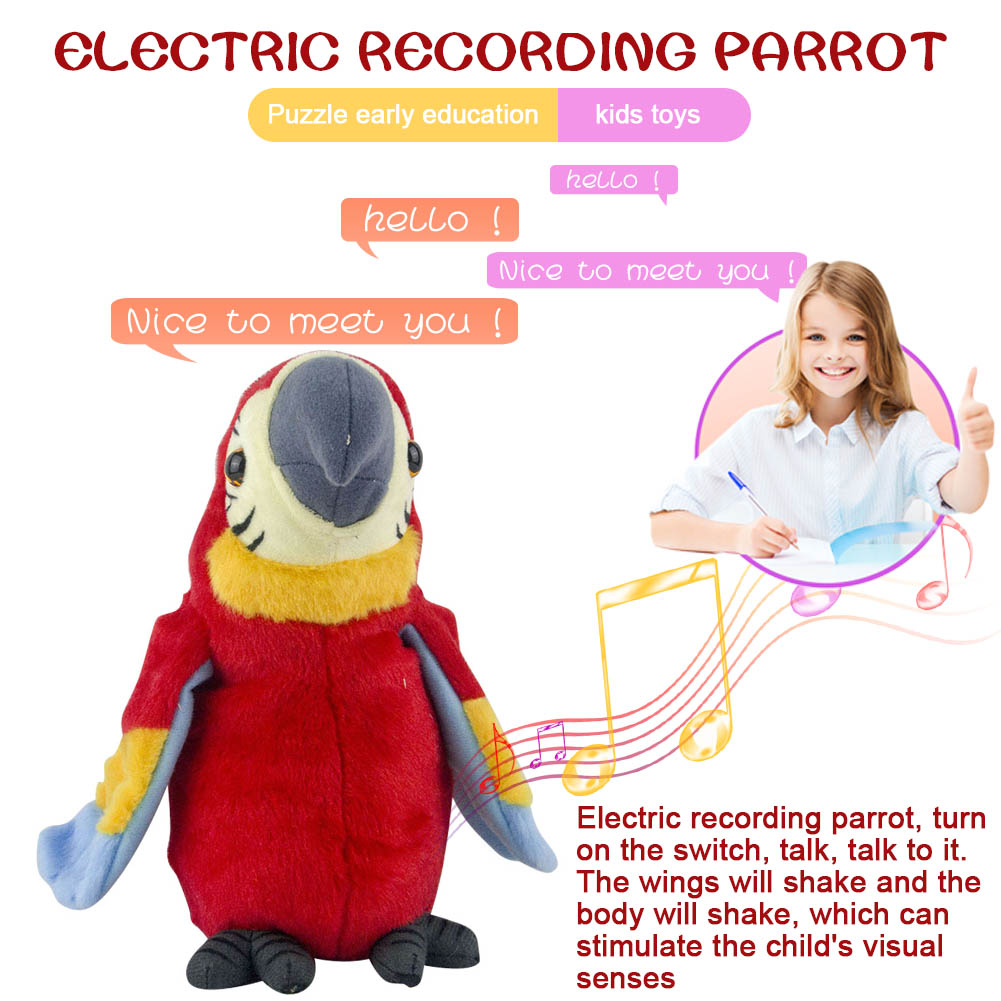 26cm Speak Talking Record Cute Macaw Electric Plush Simulation Parrot Toy Macaw Toy Cute Parrot Doll Kids Gift FJ8826cm Speak Talking Record Cute Macaw Electric Plush Simulation Parrot Toy Macaw Toy Cute Parrot Doll Kids Gift FJ88