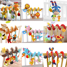 Baby Plush Rattle Toys Crib Stroller Spiral Hanging Mobile Infant Bed Animal Musical Toys Gift for Newborn Children 0-12 Months цена