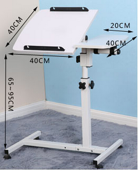 (40+20)*40cm 360 Degrees Rotation Multipurpose Movable Laptop Table Anti-Slip Height Adjustable Notebook Computer Desks 80 40cm multipurpose stoving varnish desktop laptop desk adjustable height computer desks