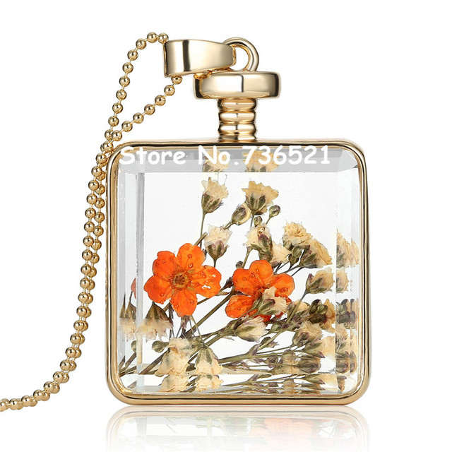 Real pressed flower locket dry flower with a square glass bottle real pressed flower locket dry flower with a square glass bottle pendant as queen annes necklace mozeypictures Images