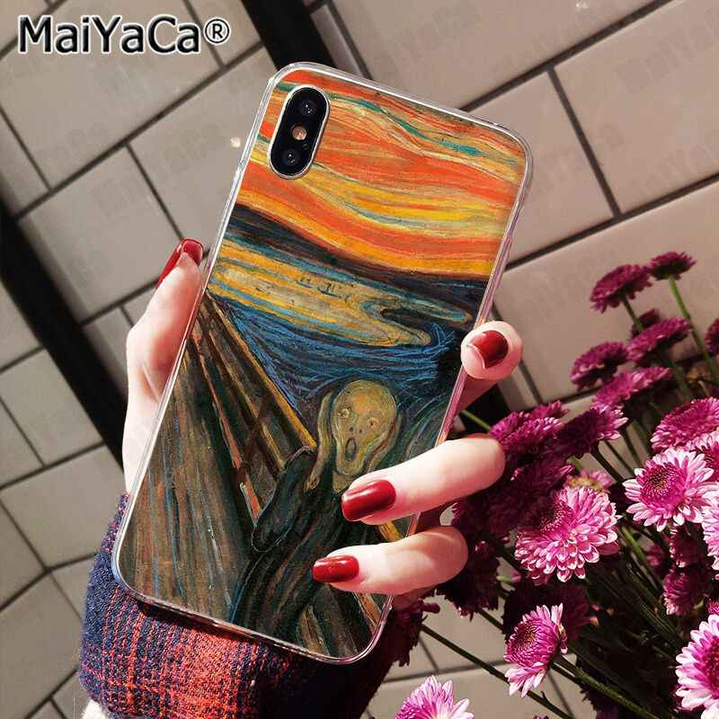 MaiYaCa ため iphone 11 pro x の 5s XR SE 8 プラス 6 7 8 6 による s プラスケース悲鳴ムンクゴッホ太陽の花風景パレットケース XS 最大