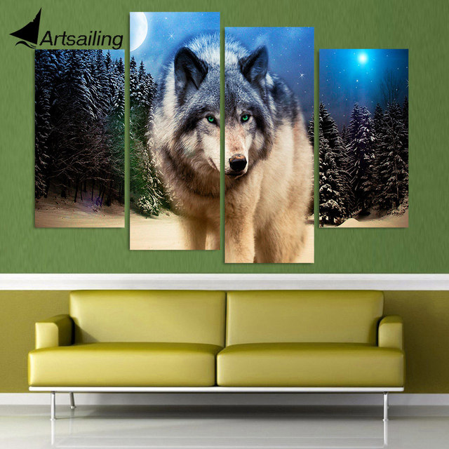 4 Panel Canvas Art Canvas Painting Wolf Stare Starry Night HD ...