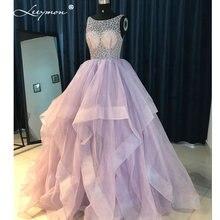 Leeymon Sexy Ball Gown Ruffles Evening Dress 2017 Backless Rhinstones diamonds Evening Gown Prom Dresses Vestido De Fiesta RE17