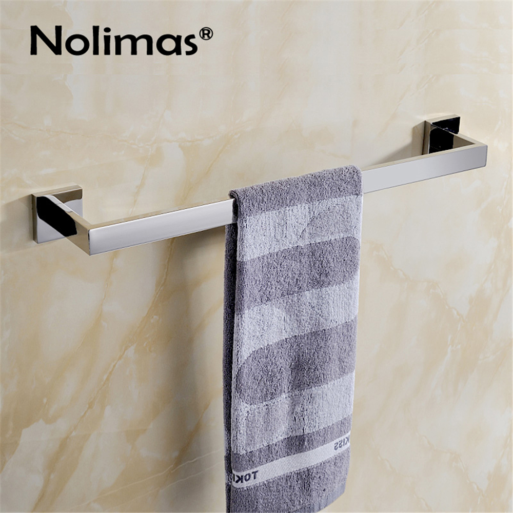 SUS 304 Stainless Steel Square Single Towel Bar Mirror Polished Towel Rack In The Bathroom Wall Mounted Towel Holder 304 stainless steel bathroom towel rack bar hangers more