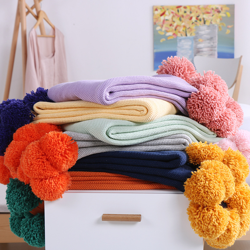 Cotton Couch Cover Cozy Sofa Knitted Blanket Cable Knit Throw Blanket Super Soft Warm With Multi Color Pompons