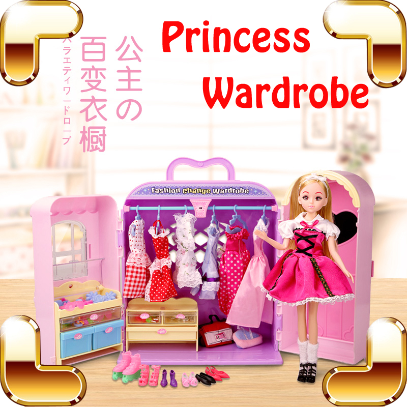 ФОТО New Arrival Gift Doll Wardrobe Baby Dollhouse Toys Girls Favour Simulation Game Fashion Change Cloth Figure Education Learning