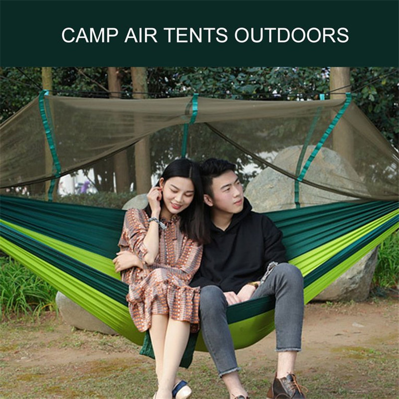 1-2 Person Outdoor Parachute Hammock Garden Camping Hanging Sleeping Bed Swing Portable Double Chair Hamac with Mosquito Net