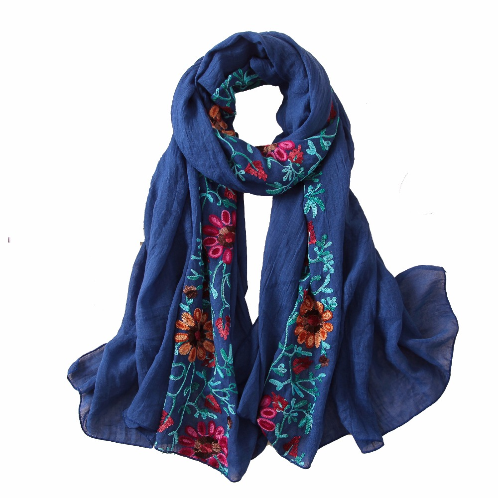 2019 Embroidery Women Scarf Vintage Summer Pashmina Cotton Shawls And Wraps Lady Floral Bandana Female Hijab Winter Scarves