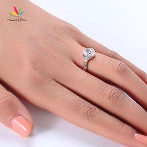 Image 4 - Павлин звезда твердое 925 пробы Серебряное обещание кольцо доступная Свадьба овальной огранки создан Диаманте CFR8123