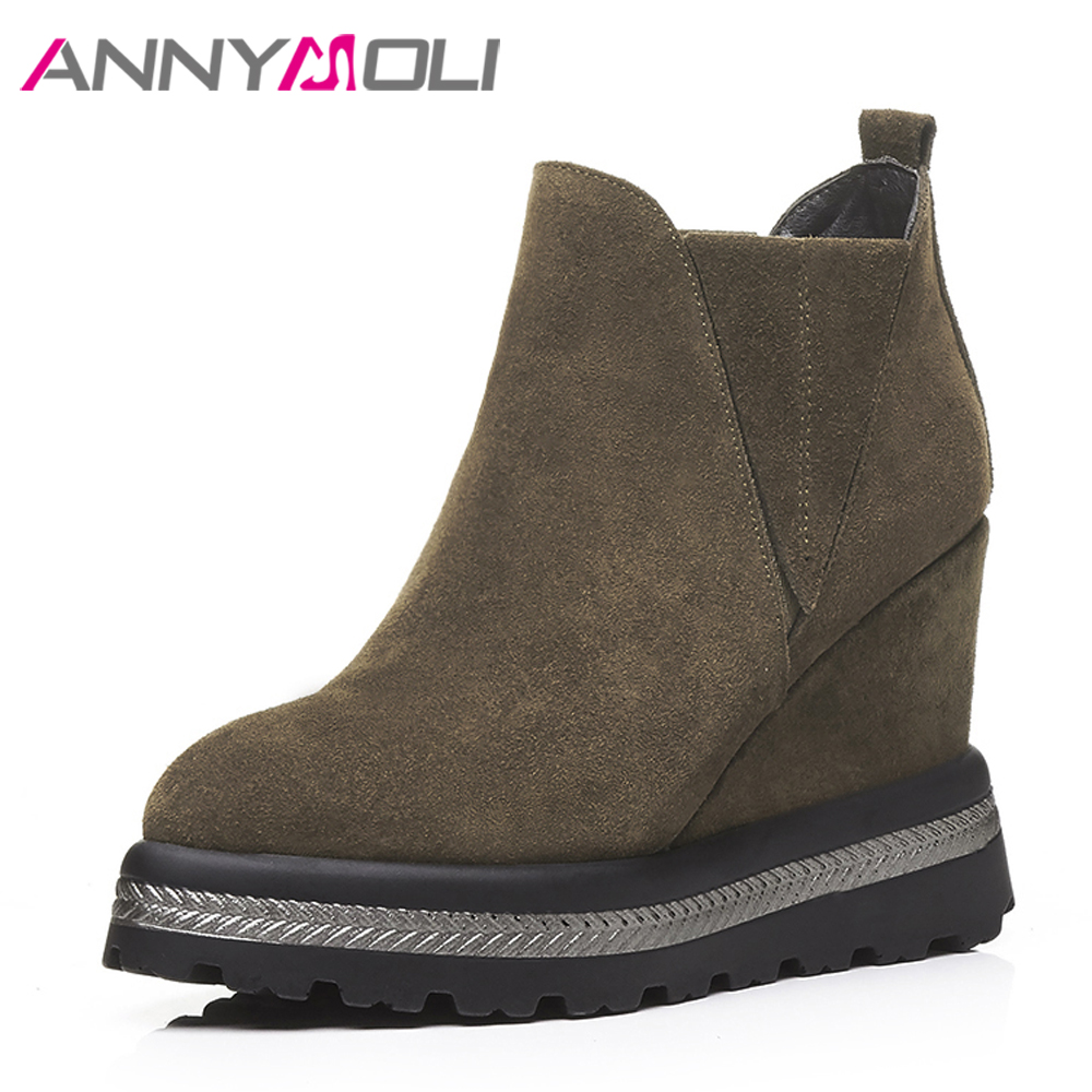 ANNYMOLI Genuine Leather Women Boots Winter Platform Wedge Heel Boots Cow Suede Shoes High Heel Ankle Boots 2017 Autumn Footwear women s genuine suede leather hemp wedge platform slip on autumn ankle boots brand designer leisure high heeled shoes for women