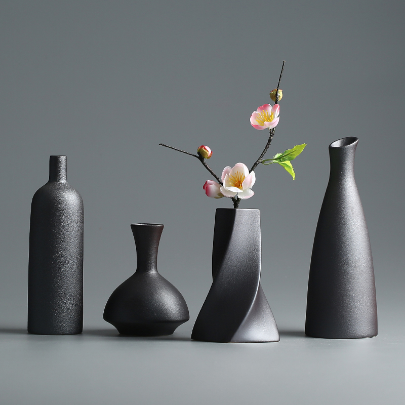 Modern Ceramic Vase creative black Tabletop Vases thydroponic containers flower pot Home Decor crafts Wedding decorationModern Ceramic Vase creative black Tabletop Vases thydroponic containers flower pot Home Decor crafts Wedding decoration