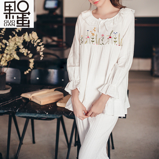 Spring and Summer Cotton Gauze on Pregnant Women Serving Pajamas Korea Lace Embroidery Maternal Nursing Home Clothing