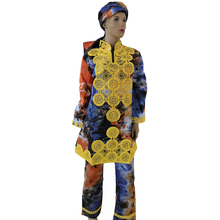 MD african women dress with pants lady tops pant sets scarf three pieces traditional embroidery clothing